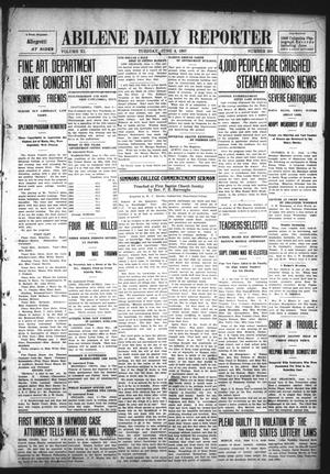 Primary view of object titled 'Abilene Daily Reporter (Abilene, Tex.), Vol. 11, No. 282, Ed. 1 Tuesday, June 4, 1907'.