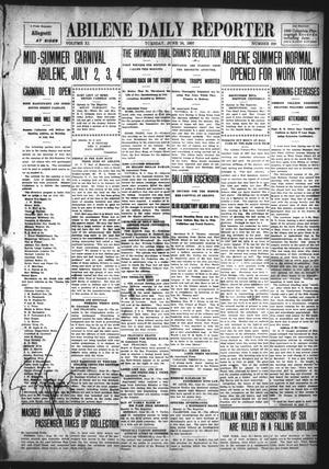 Primary view of object titled 'Abilene Daily Reporter (Abilene, Tex.), Vol. 11, No. 299, Ed. 1 Monday, June 24, 1907'.