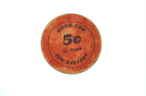 Primary view of object titled '[5-Cent Token]'.