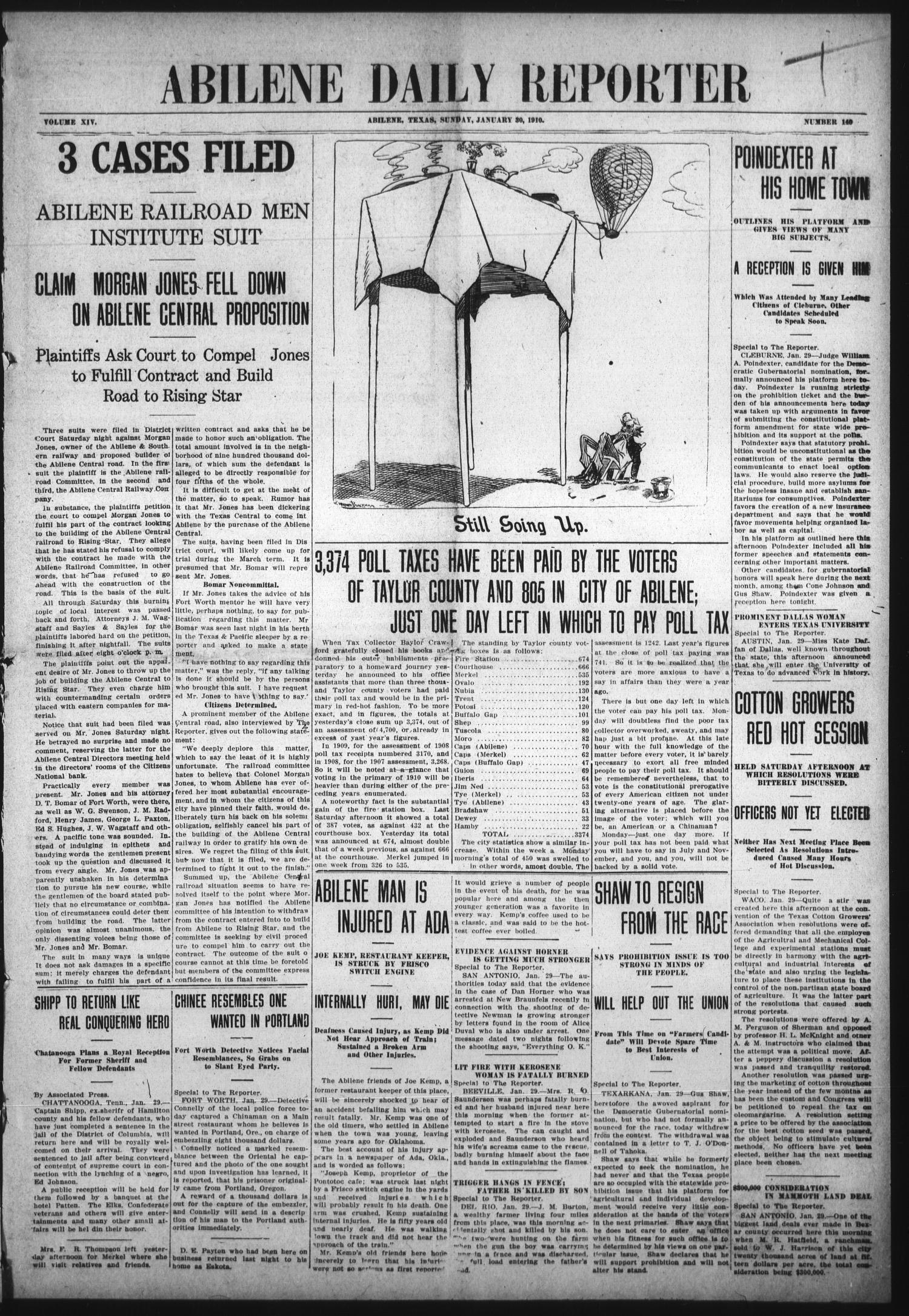 Abilene Daily Reporter (Abilene, Tex.), Vol. 14, No. 140, Ed. 1 Sunday, January 30, 1910                                                                                                      [Sequence #]: 1 of 12