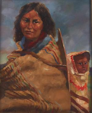 "Primary view of object titled '""Sioux Mother and child""'."
