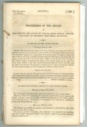 "Primary view of object titled '""Proceedings of the Senate and Documents Relative to Texas, from which the Injunction of Secrecy has been Removed""'."