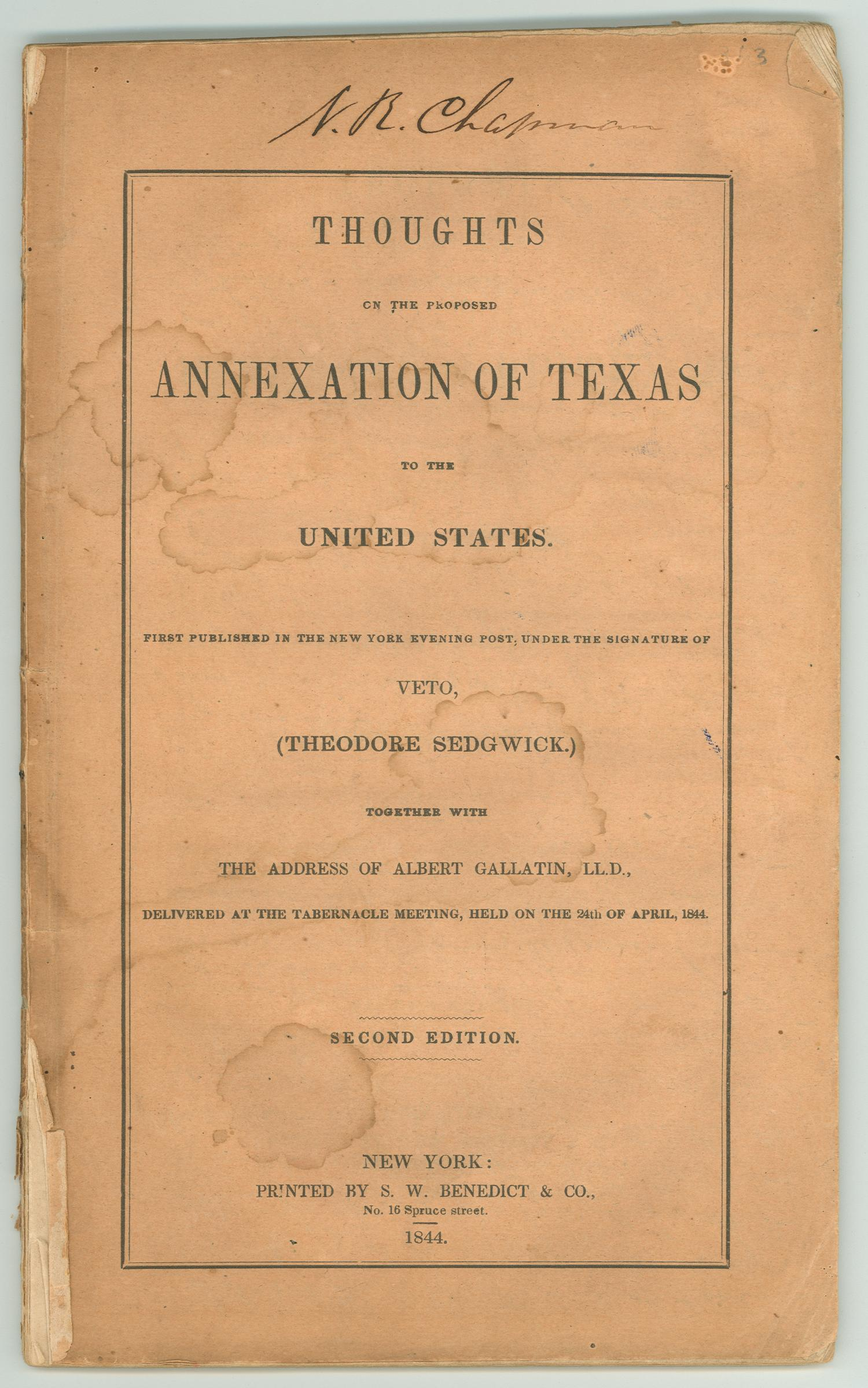 Thoughts On The Proposed Annexation Of Texas To The United