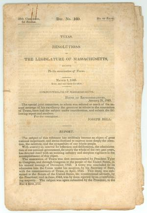 "Primary view of object titled '""Resolutions of the Legislature of Massachusetts, Relative to the Annexation of Texas""'."