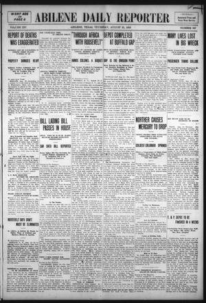 Primary view of object titled 'Abilene Daily Reporter (Abilene, Tex.), Vol. 14, No. 347, Ed. 1 Thursday, August 25, 1910'.
