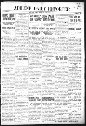 Primary view of object titled 'Abilene Daily Reporter (Abilene, Tex.), Vol. 16, No. 46, Ed. 1 Tuesday, October 31, 1911'.