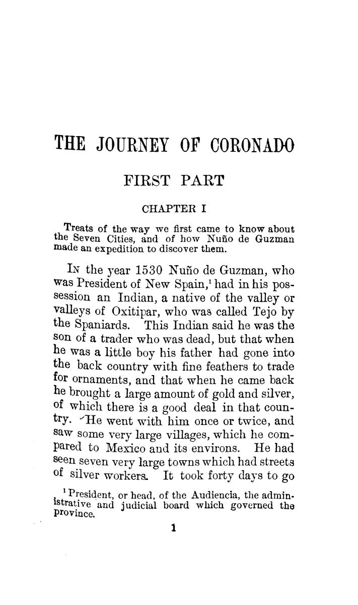 The journey of Coronado, 1540-1542, from the city of Mexico to the Grand Canon of the Colorado and the buffalo plains of Texas, Kansas and Nebraska, as told by himself and his followers                                                                                                      [Sequence #]: 35 of 288