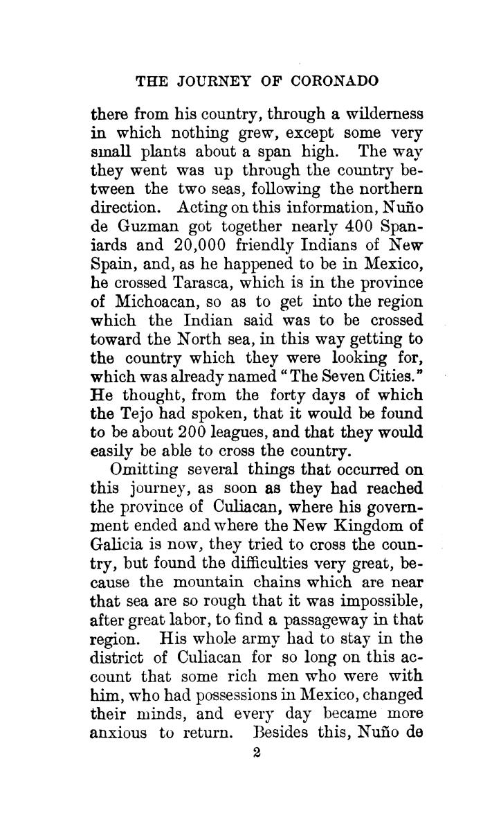 The journey of Coronado, 1540-1542, from the city of Mexico to the Grand Canon of the Colorado and the buffalo plains of Texas, Kansas and Nebraska, as told by himself and his followers                                                                                                      [Sequence #]: 36 of 288