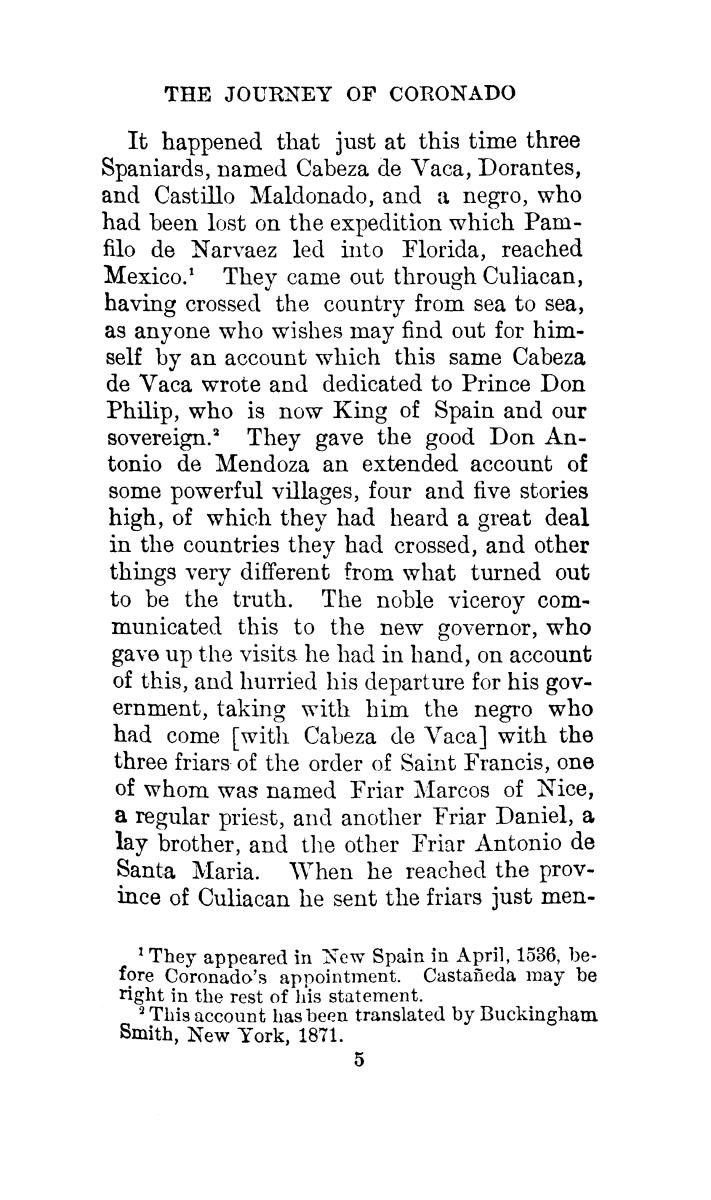 The journey of Coronado, 1540-1542, from the city of Mexico to the Grand Canon of the Colorado and the buffalo plains of Texas, Kansas and Nebraska, as told by himself and his followers                                                                                                      [Sequence #]: 39 of 288