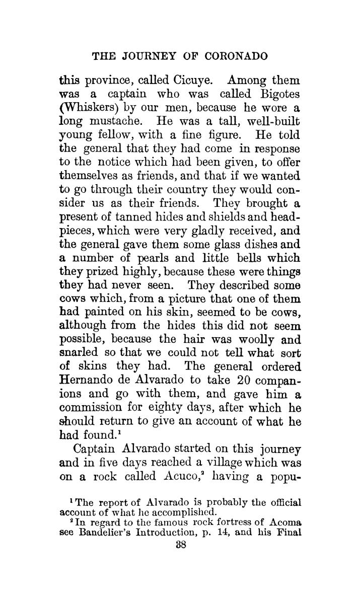 The journey of Coronado, 1540-1542, from the city of Mexico to the Grand Canon of the Colorado and the buffalo plains of Texas, Kansas and Nebraska, as told by himself and his followers                                                                                                      [Sequence #]: 72 of 288