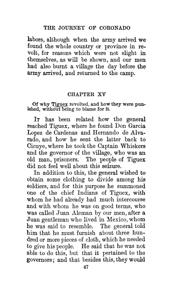 The journey of Coronado, 1540-1542, from the city of Mexico to the Grand Canon of the Colorado and the buffalo plains of Texas, Kansas and Nebraska, as told by himself and his followers                                                                                                      [Sequence #]: 81 of 288