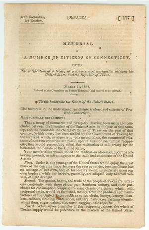 "Primary view of object titled '""Memorial of a number of citizens of Connecticut,  praying The ratification of a treaty of commerce and navigation  between the United States and the Republic of Texas""'."