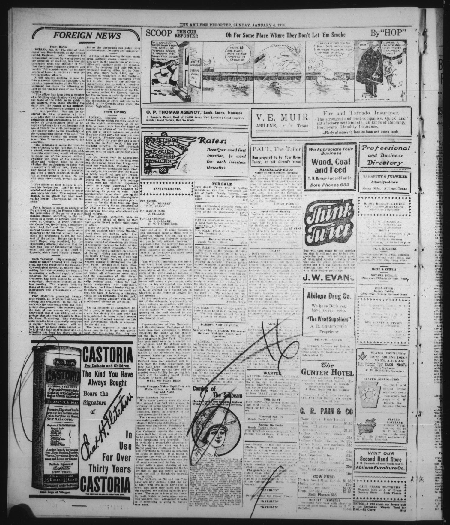 The Abilene Daily Reporter (Abilene, Tex ), Vol  17, No  258, Ed  1