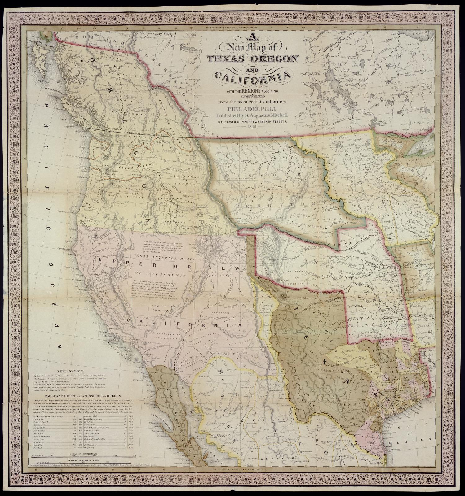 A New Map Of Texas Oregon And California With The Regions Adjoining