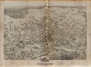 Primary view of object titled '[Bird's Eye View of the City of Houston, Texas, 1873]'.