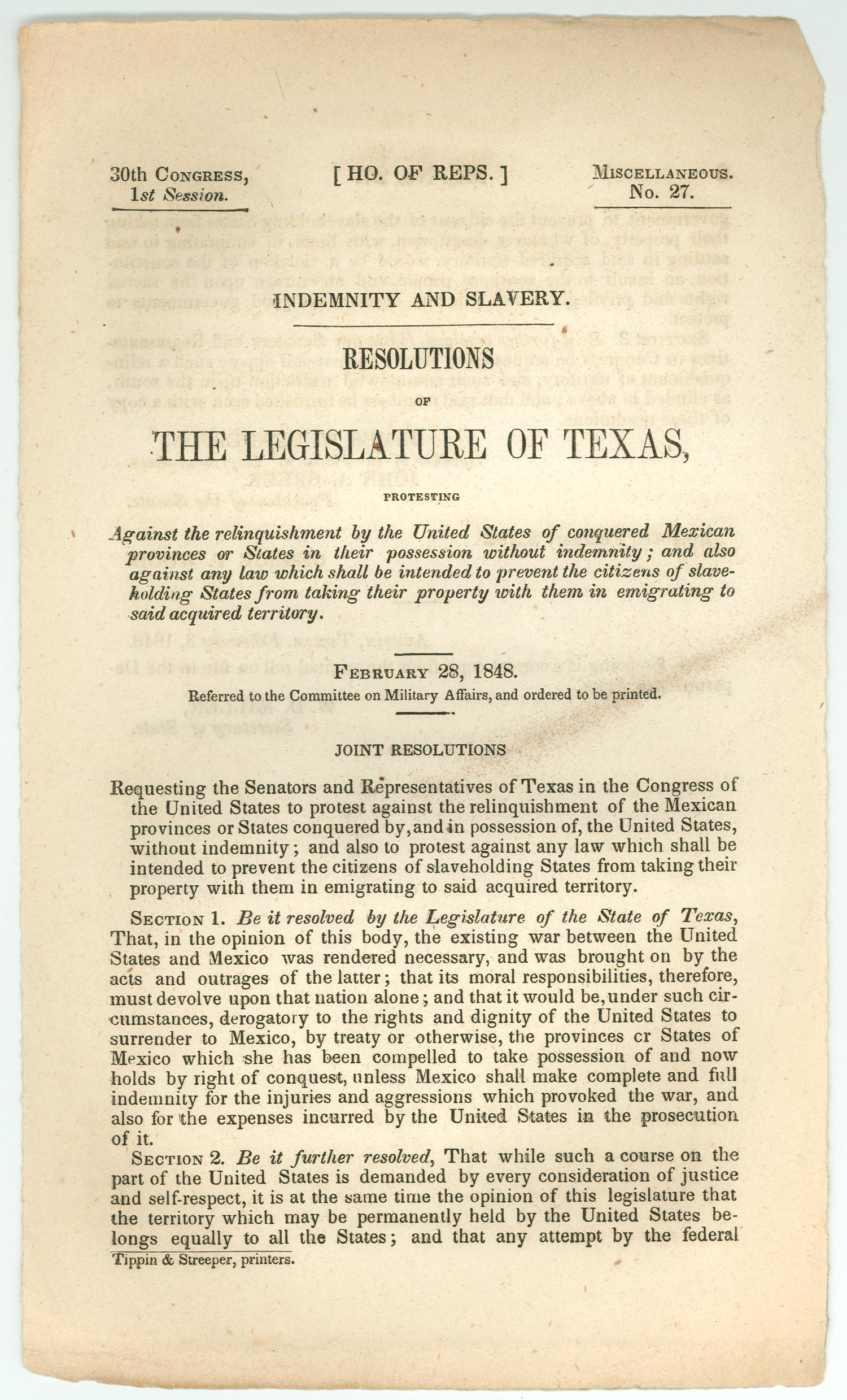 Indemnity and Slavery: Resolutions of the Legislature of Texas                                                                                                      [Sequence #]: 1 of 2
