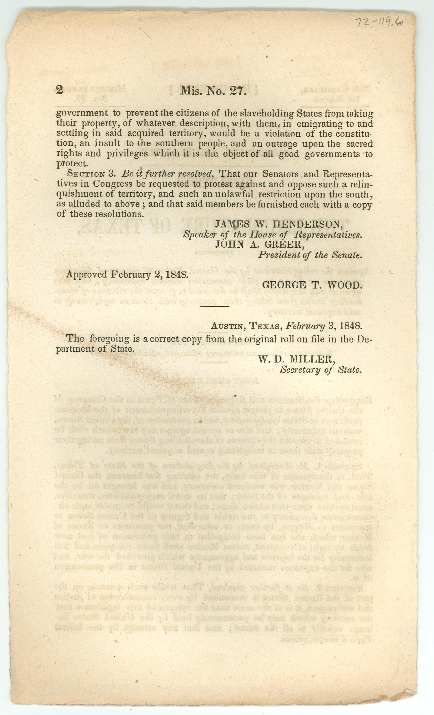 Indemnity and Slavery: Resolutions of the Legislature of Texas                                                                                                      [Sequence #]: 2 of 2