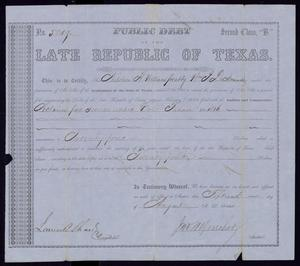 Primary view of object titled '[Claim Certificate: Napoleon R. Williams for atty. William J. DeNormandie]'.