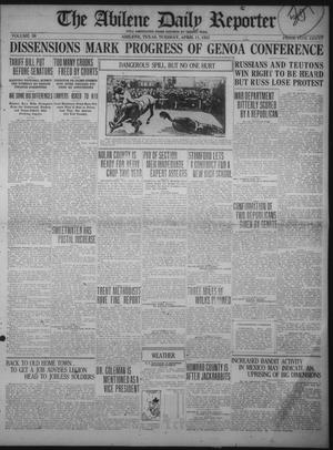 Primary view of object titled 'The Abilene Daily Reporter (Abilene, Tex.), Vol. 34, Ed. 1 Tuesday, April 11, 1922'.