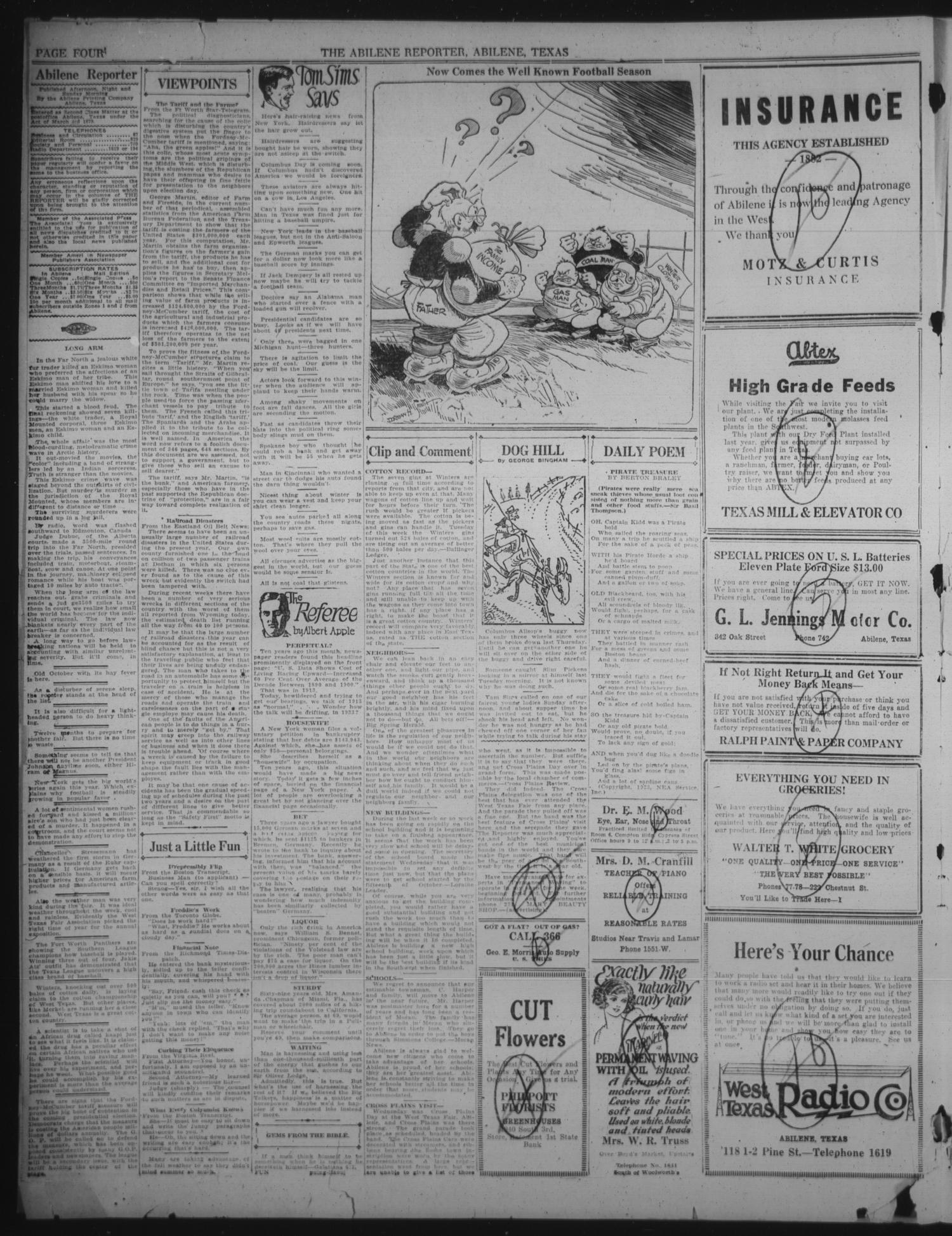 The Abilene Daily Reporter (Abilene, Tex.), Vol. 25, No. 127, Ed. 1 Monday, October 1, 1923                                                                                                      [Sequence #]: 4 of 8