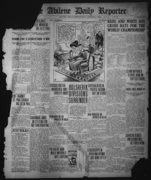Primary view of object titled 'The Abilene Daily Reporter (Abilene, Tex.), No. 254, Ed. 1 Wednesday, October 1, 1919'.