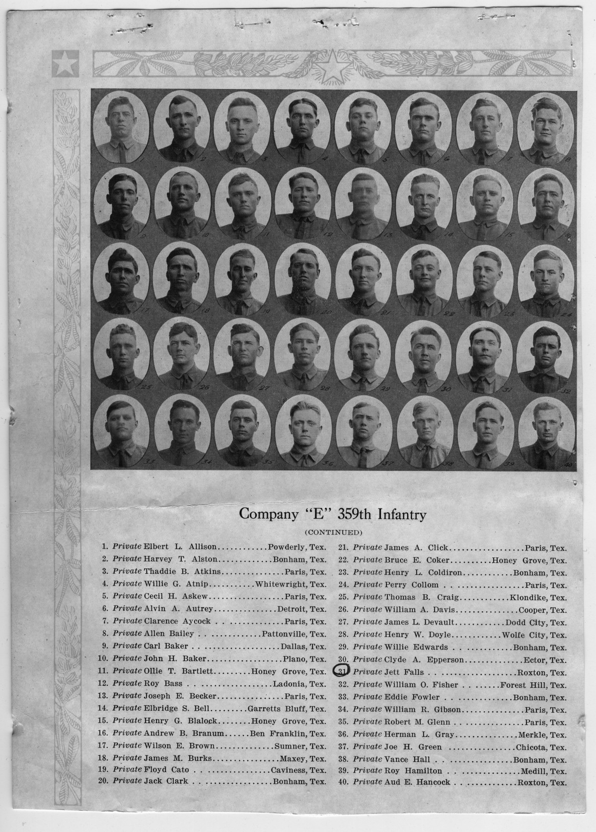 company e  359th infantry division listing  front page