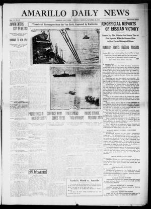 Primary view of object titled 'Amarillo Daily News (Amarillo, Tex.), Vol. 6, No. 20, Ed. 1 Thursday, November 26, 1914'.