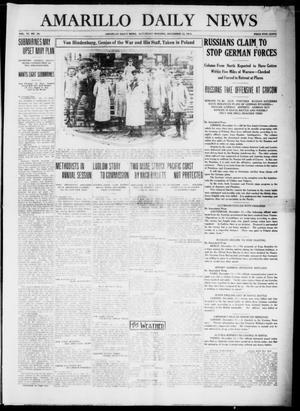 Primary view of object titled 'Amarillo Daily News (Amarillo, Tex.), Vol. 6, No. 34, Ed. 1 Saturday, December 12, 1914'.