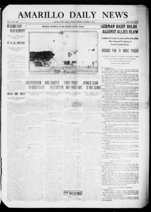 Primary view of object titled 'Amarillo Daily News (Amarillo, Tex.), Vol. 4, No. 289, Ed. 1 Tuesday, October 6, 1914'.