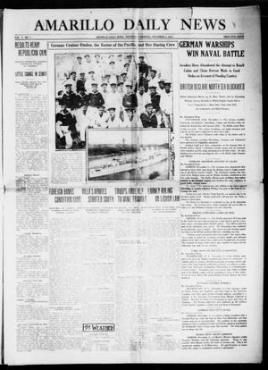 Primary view of object titled 'Amarillo Daily News (Amarillo, Tex.), Vol. 5, No. 1, Ed. 1 Wednesday, November 4, 1914'.