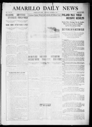 Primary view of object titled 'Amarillo Daily News (Amarillo, Tex.), Vol. 6, No. 19, Ed. 1 Wednesday, November 25, 1914'.