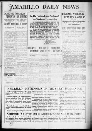 Primary view of object titled 'Amarillo Daily News (Amarillo, Tex.), Vol. 6, No. 104, Ed. 1 Thursday, March 4, 1915'.