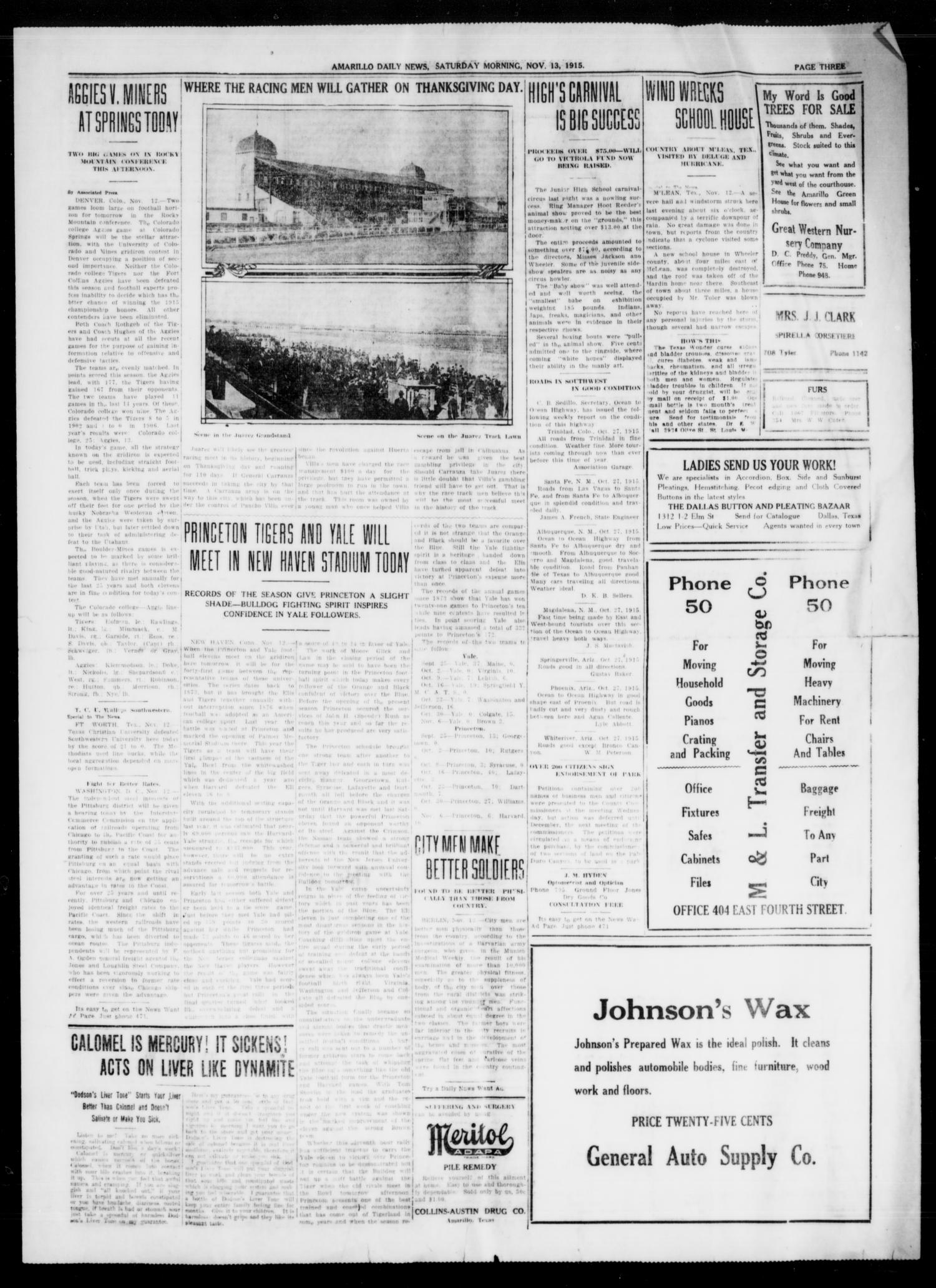 Amarillo Daily News (Amarillo, Tex.), Ed. 1 Saturday, November 13, 1915                                                                                                      [Sequence #]: 1 of 4