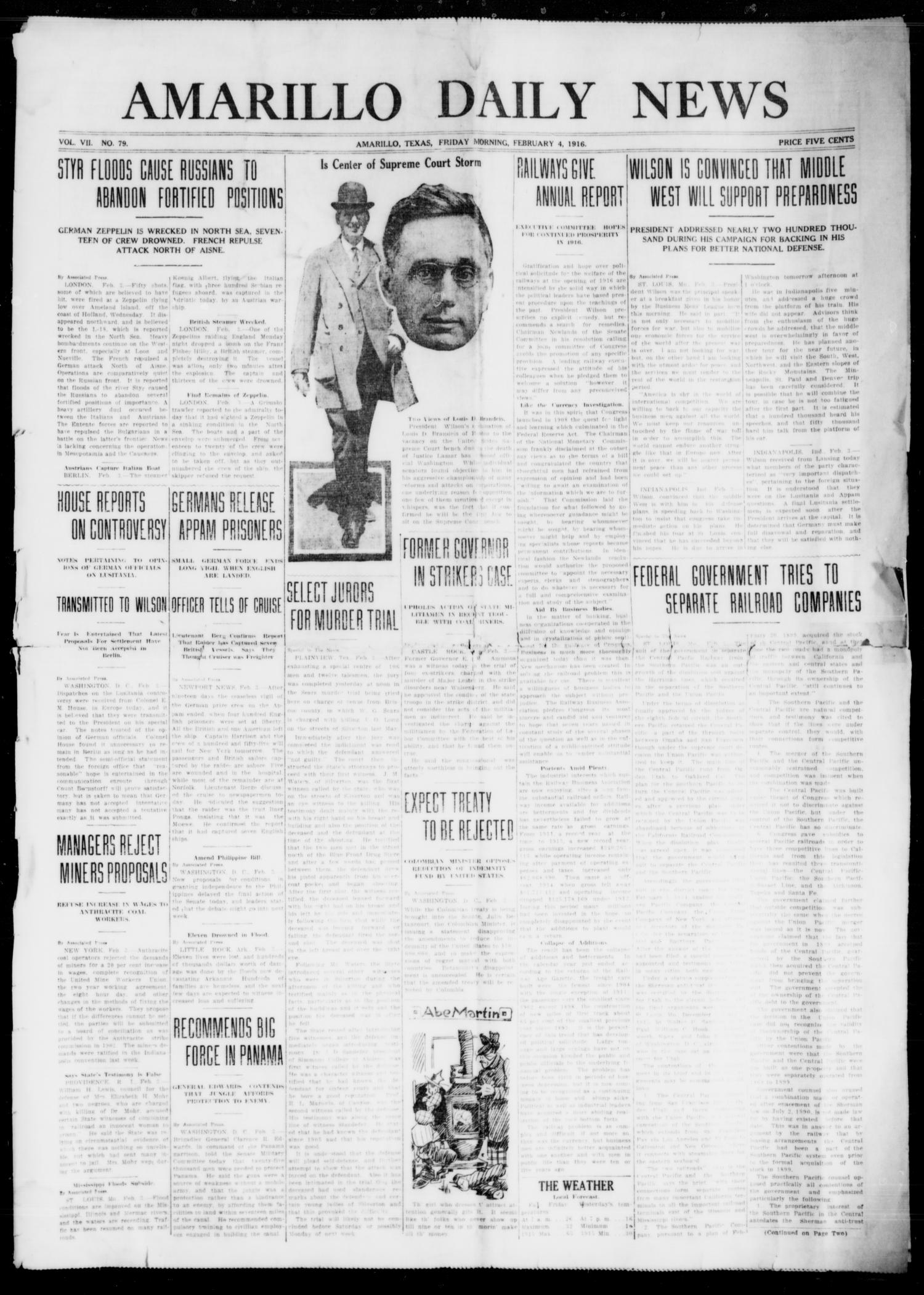 Amarillo Daily News (Amarillo, Tex.), Vol. 7, No. 79, Ed. 1 Friday, February 4, 1916                                                                                                      [Sequence #]: 1 of 4