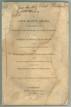 Primary view of object titled '[Speech of John Quincy Adams . . . Relating to the Annexation of Texas]'.