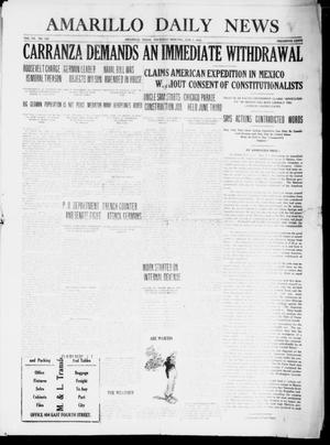 Primary view of object titled 'Amarillo Daily News (Amarillo, Tex.), Vol. 7, No. 180, Ed. 1 Thursday, June 1, 1916'.