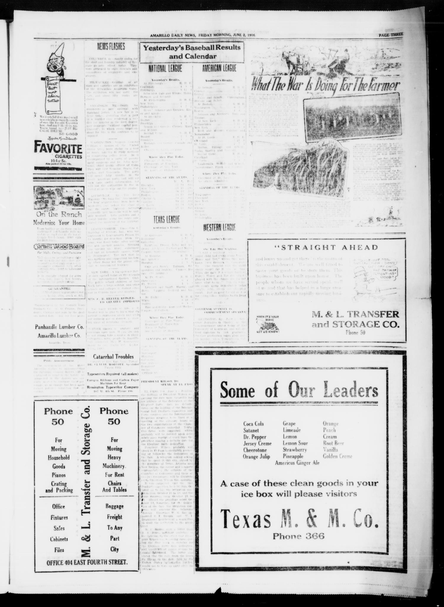 Amarillo Daily News (Amarillo, Tex.), Ed. 1 Friday, June 2, 1916                                                                                                      [Sequence #]: 1 of 4