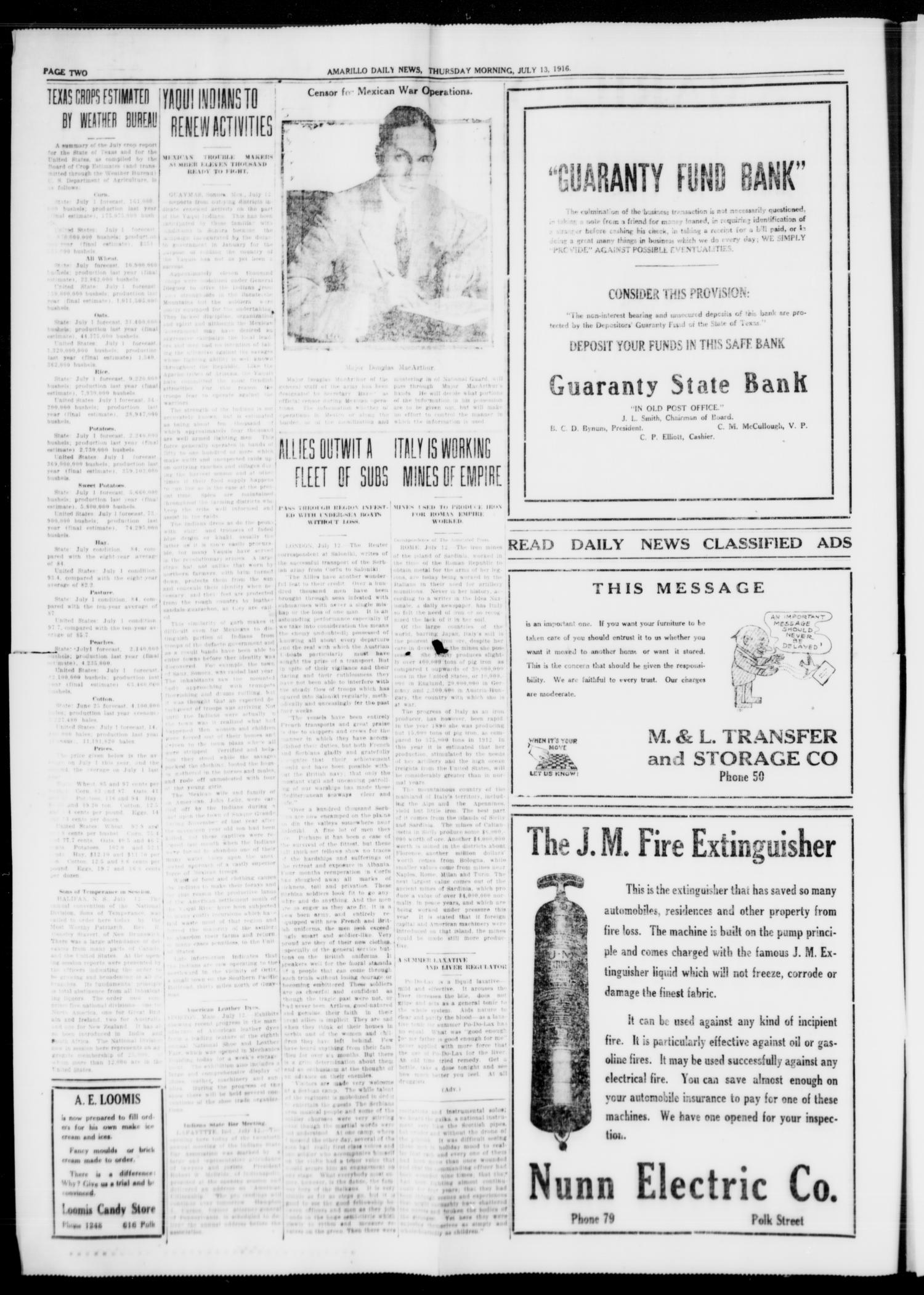 Amarillo Daily News (Amarillo, Tex.), Vol. 7, No. 213, Ed. 1 Thursday, July 13, 1916                                                                                                      [Sequence #]: 2 of 8