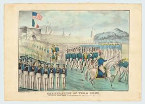 """Capitulation of Vera Cruz:  The Mexican Soldiers Marching Out and Surrendering their Arms to General Scott, March 29, 1847."""