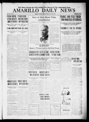 Primary view of object titled 'Amarillo Daily News (Amarillo, Tex.), Vol. 8, No. 249, Ed. 1 Tuesday, August 21, 1917'.