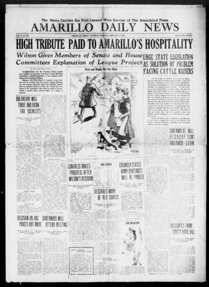 Primary view of object titled 'Amarillo Daily News (Amarillo, Tex.), Vol. 10, No. 100, Ed. 1 Thursday, February 27, 1919'.