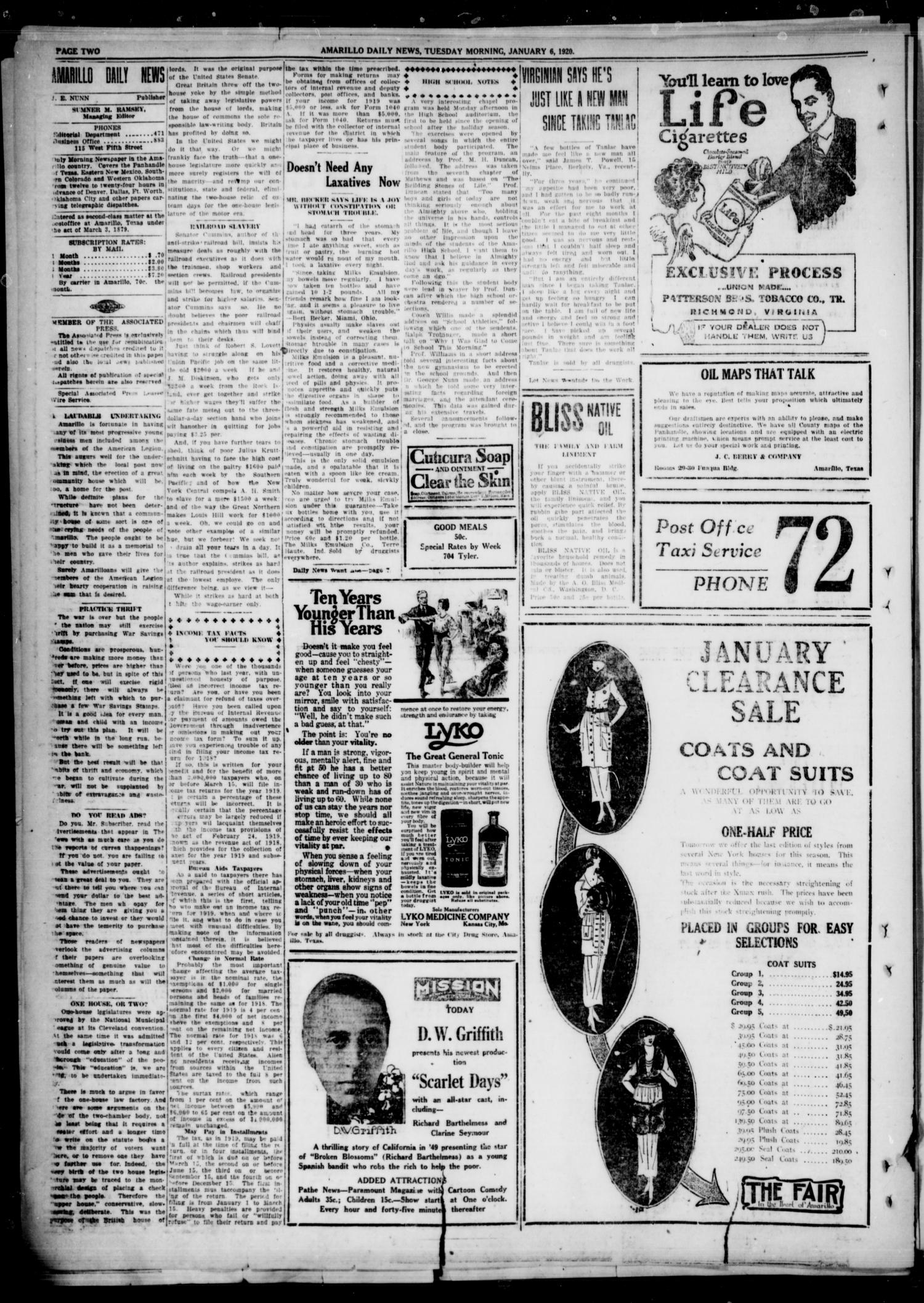 Amarillo Daily News (Amarillo, Tex.), Vol. 11, No. 55, Ed. 1 Tuesday, January 6, 1920                                                                                                      [Sequence #]: 2 of 8
