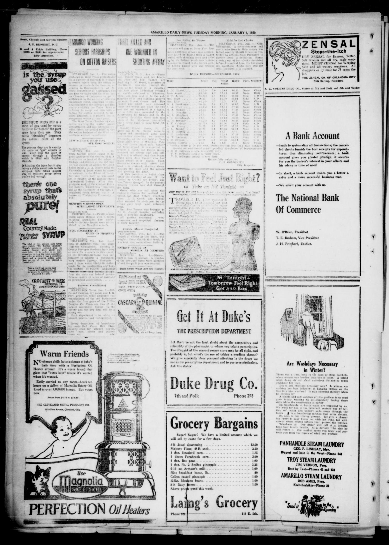 Amarillo Daily News (Amarillo, Tex.), Vol. 11, No. 55, Ed. 1 Tuesday, January 6, 1920                                                                                                      [Sequence #]: 4 of 8