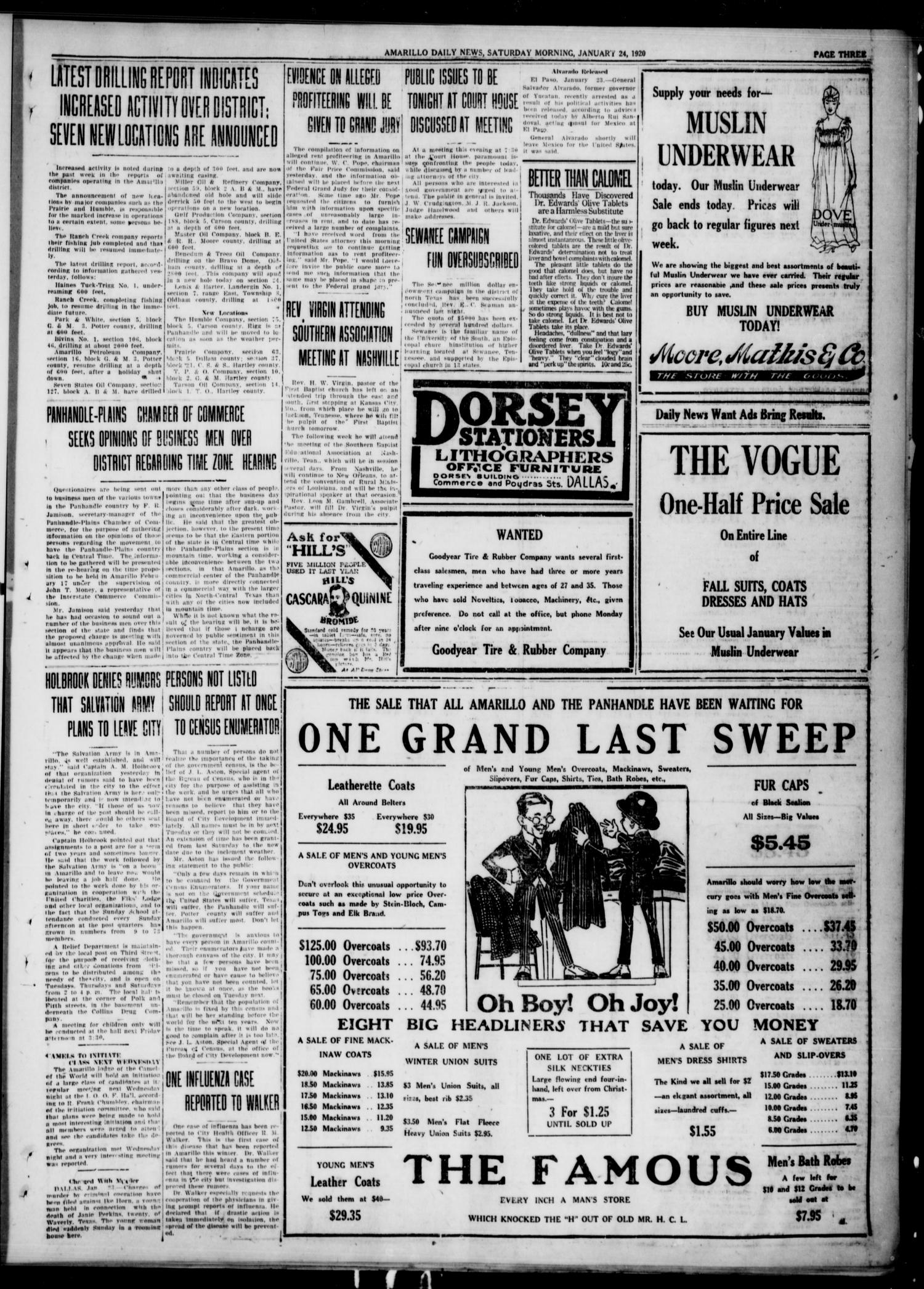 Amarillo Daily News (Amarillo, Tex.), Ed. 1 Saturday, January 24, 1920                                                                                                      [Sequence #]: 1 of 6