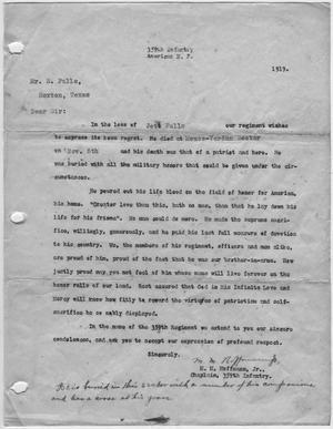 [Letter Informing Soloman Falls of Jett Fall's Death]