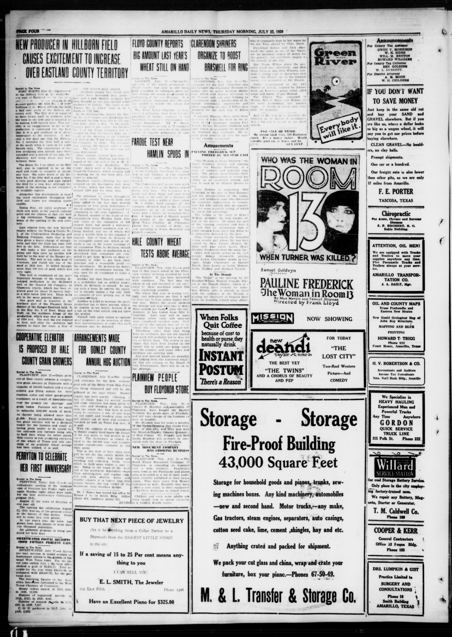 Amarillo Daily News (Amarillo, Tex.), Vol. 11, No. 225, Ed. 1 Thursday, July 22, 1920                                                                                                      [Sequence #]: 4 of 8