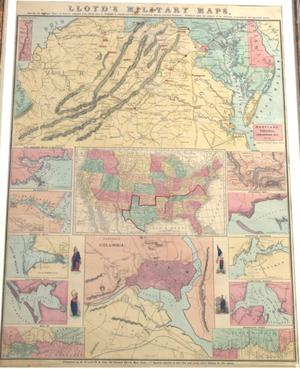 "Primary view of object titled '""Lloyd's Military Maps, Showing the Principal Places of Interest, compiled from official data by Egbert L. Viele and Charles Haskins, Military and Civil Engineers.  Published under the auspices of the American Geographical and Statistical Society.""'."