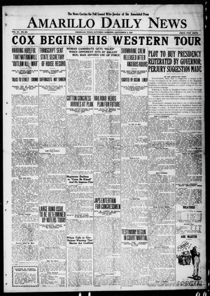 Primary view of object titled 'Amarillo Daily News (Amarillo, Tex.), Vol. 11, No. 263, Ed. 1 Saturday, September 4, 1920'.