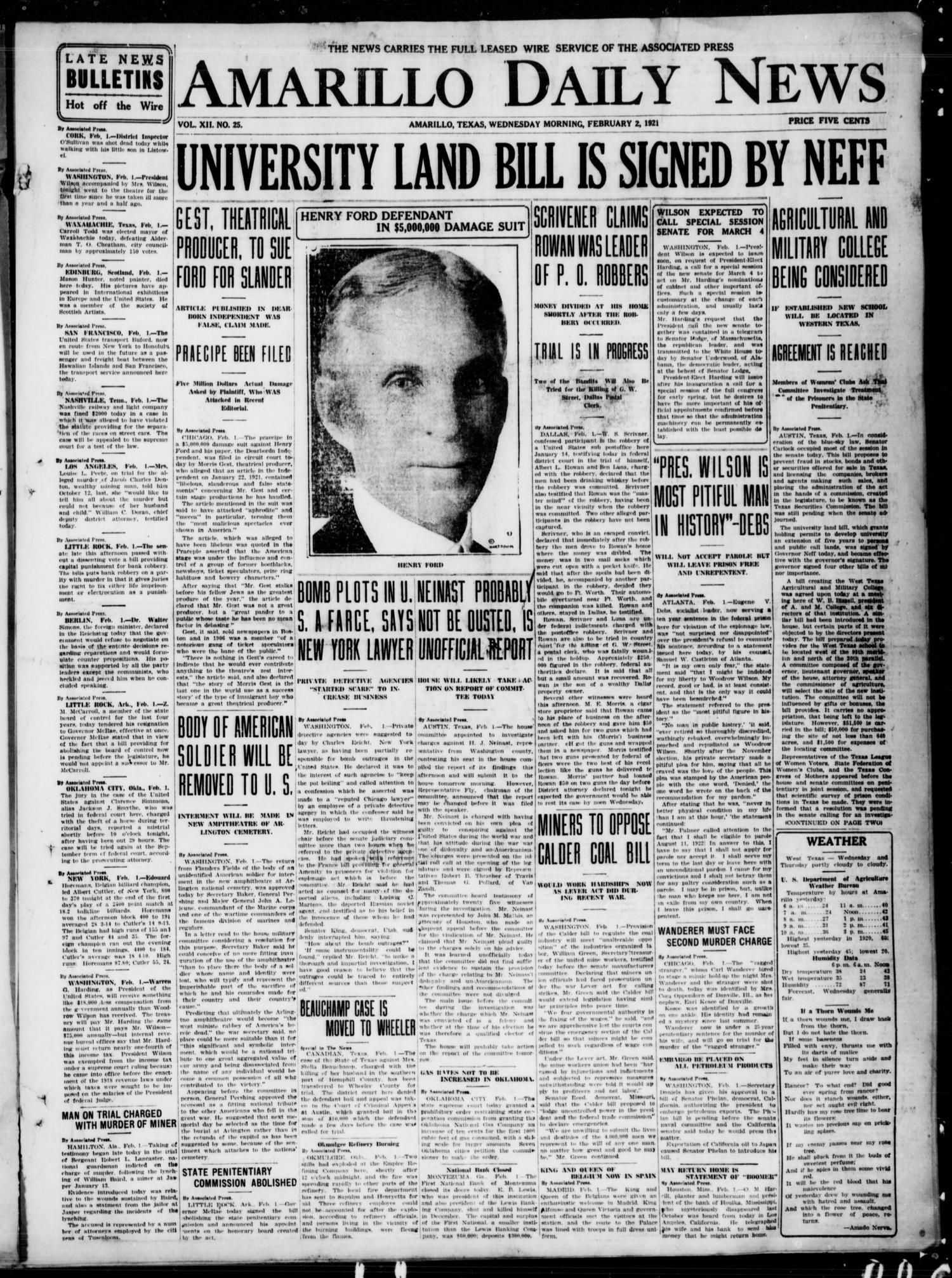 Amarillo Daily News (Amarillo, Tex.), Vol. 12, No. 25, Ed. 1 ...