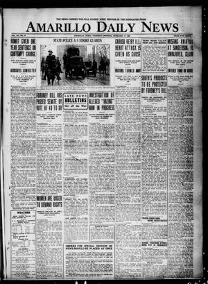 Primary view of object titled 'Amarillo Daily News (Amarillo, Tex.), Vol. 12, No. 37, Ed. 1 Thursday, February 17, 1921'.